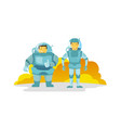 two cosmonauts in the spacesuit fat and thin vector image