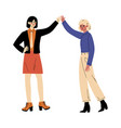two girls stand and hold hands above their heads vector image vector image