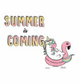 unicorn swimming on pool ring inflatable flamingo vector image