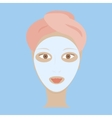 woman with white mask vector image vector image