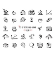 Hand-drawn sketch web icon set - economy finance vector image