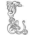 animal two dragons black decorative art vector image