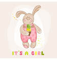 Baby Bunny with Ice Cream - Arrival Card vector image vector image