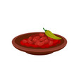 beans in tomato sauce and green pepper in ceramic vector image