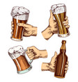 beer glass in hand cheers toast mug or bottle of vector image