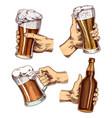 beer glass in hand cheers toast mug or bottle