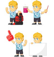 Blonde Rich Boy Customizable Mascot 11 vector image vector image