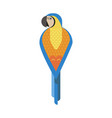blue yellow macaw parrot icon in flat vector image