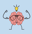 brain with glasses vector image vector image