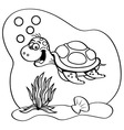 Cartoon sea turtle swimming underwater vector image vector image