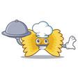 chef with food farfalle pasta mascot cartoon vector image vector image