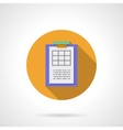Clipboard with spreadsheet round flat icon vector image vector image