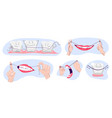 collection clean teeths dental floss use vector image vector image