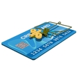 Credit card trap Bank interest free cheese in vector image
