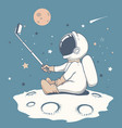 curious astronaut make a selfie on moon vector image vector image