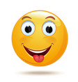 emoticon smiling face shows tongue vector image