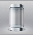 empty transparent glass cylinder 3d showcase vector image vector image