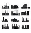 factory silhouette industrial building icons vector image