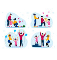 family life happy moments flat concepts set vector image vector image
