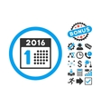 First 2016 Day Flat Icon with Bonus vector image vector image
