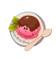 Ice cream on the plate with spoon vector image vector image