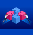 isometric people connecting puzzle elements vector image