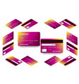 isometric set of templates of credit cards vector image vector image