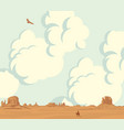landscape with cloudy sky and lonely cowboy vector image