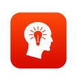 light bulb inside head icon digital red vector image vector image