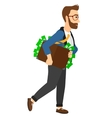 Man with suitcase full of money vector image vector image