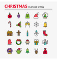 Merry Christmas Colorful Flat Line Icons Set vector image vector image