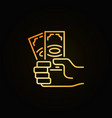 money in hand golden icon vector image