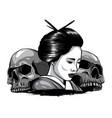 monochromatic geisha skull vector image vector image