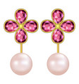 pearl ruby earrings mockup realistic style vector image