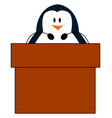 penguin with microphone on white background vector image vector image