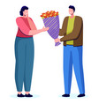 people giving natural gift flowers dating vector image