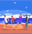 people relaxing on seaside at summer time vector image