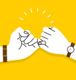 pinky swear hands promise on yellow background vector image vector image