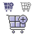 pixel icon shopping trolley with plus sign add vector image vector image