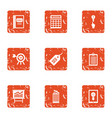 profit growth icons set grunge style vector image vector image