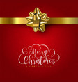red christmas gift greeting card with gold ribbon vector image vector image