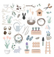 scandinavian easter set with spring decor vector image vector image