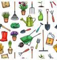 seamless pattern gardening vector image vector image