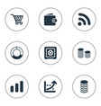 set of simple finance icons elements earnings vector image vector image