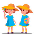 smiling little girl in a big hat on the beach vector image