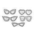 sunglasses set sketch engraving vector image vector image