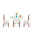 table of cafe or restaurant served with food icon vector image vector image