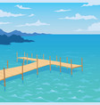 tropical ocean landscape with wooden dock vector image