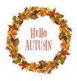 watercolor autumn leaves wreath vector image vector image