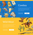 wild west cowboy web banners with horses vector image vector image